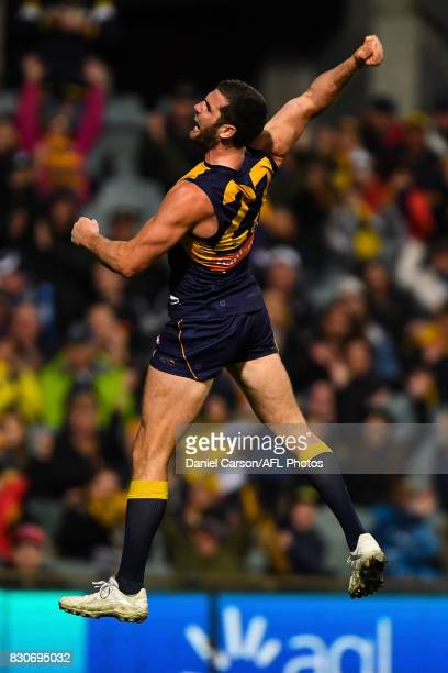 Jack Darling of the Eagles celebrates a goal during the 2017 AFL round 21 match between the West Coast Eagles and the Carlton Blues at Domain Stadium...