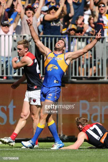 Jack Darling of the Eagles celebrates a goal during the AFL Prelimary Final match between the West Coast Eagles and the Melbourne Demons on September...