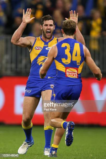 Jack Darling of the Eagles celebrates a goal during the AFL Second Qualifying Final match between the West Coast Eagles and the Collingwood Magpies...