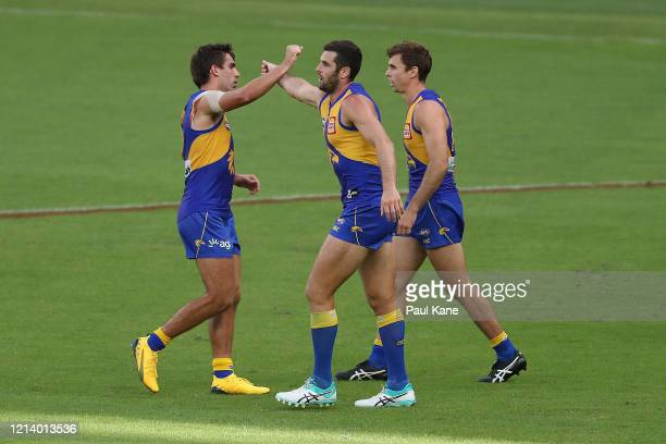 Jack Darling of the Eagles celebrates a goal during the round 1 AFL match between the West Coast Eagles and the Melbourne Demons at Optus Stadium on...
