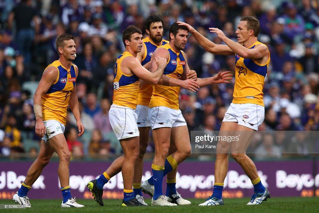 Jack Darling of the Eagles celebrates a goal during the round 17 AFL match between the Fremantle Dockers and the West Coast Eagles at Domain Stadium on July 16, 2017 in Perth, Australia.
