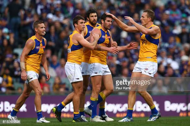 Jack Darling of the Eagles celebrates a goal during the round 17 AFL match between the Fremantle Dockers and the West Coast Eagles at Domain Stadium...