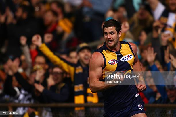 Jack Darling of the Eagles celebrates a goal during the round 22 AFL match between the West Coast Eagles and the Hawthorn Hawks at Domain Stadium on...
