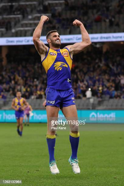 Jack Darling of the Eagles celebrates a goal during the round nine AFL match between West Coast Eagles and the Geelong Cats at Optus Stadium on...
