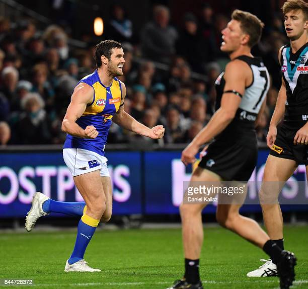 Jack Darling of the Eagles celebrates after kicking a goal during the AFL First Elimination Final match between Port Adelaide Power and West Coast...