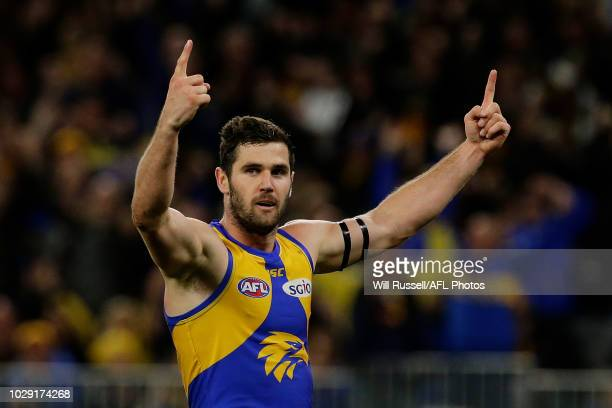 Jack Darling of the Eagles celebrates after scoring a goal during the AFL Second Qualifying Final match between the West Coast Eagles and the...