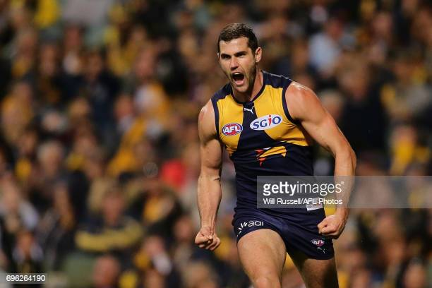 Jack Darling of the Eagles celebrates after scoring a goal during the round 13 AFL match between the West Coast Eagles and the Geelong Cats at Domain...