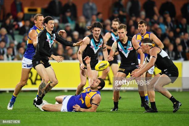 Jack Darling of the Eagles competes for the ball during the AFL First Elimination Final match between Port Adelaide Power and West Coast Eagles at...
