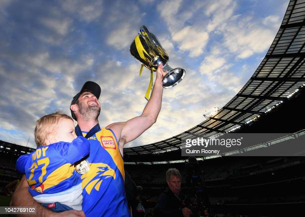 Jack Darling of the Eagles holds up the Premiership Trophy after the Eagles won the 2018 AFL Grand Final match between the Collingwood Magpies and...