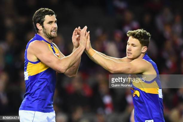 Jack Darling of the Eagles is congratulated by Jack Redden after kicking a goal during the round 20 AFL match between the St Kilda Saints and the...