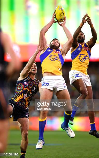 Jack Darling of the Eagles marks during the round 10 AFL match between the Adelaide Crows and the West Coast Eagles at Adelaide Oval on May 25, 2019...