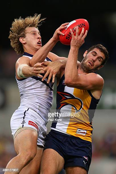 Jack Darling of the Eagles marks the ball against Chris Mayne of the Dockers during the round seven AFL match between the West Coast Eagles and the...