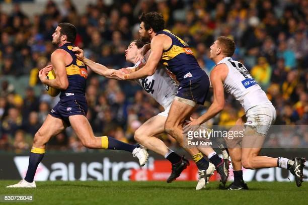 Jack Darling of the Eagles marks the ball during the round 21 AFL match between the West Coast Eagles and the Carlton Blues at Domain Stadium on...
