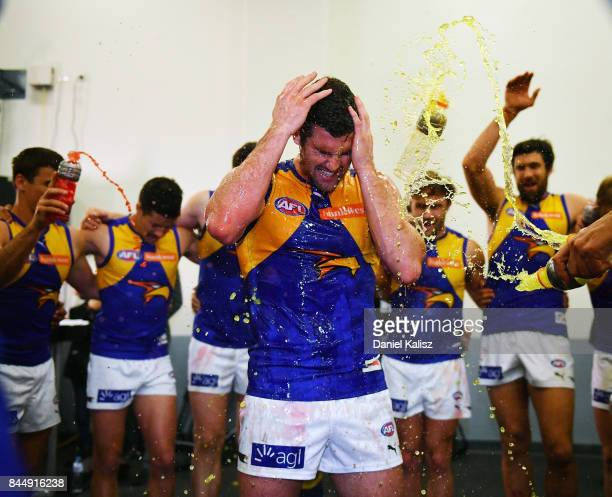 Jack Darling of the Eagles receives a gatorade shower after during the AFL First Elimination Final match between Port Adelaide Power and West Coast...