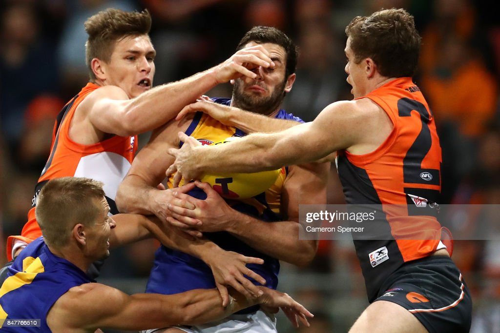 Jack Darling of the Eagles receives attention as he attempts to mark during the AFL First Semi Final match between the Greater Western Sydney Giants and the West Coast Eagles at Spotless Stadium on September 16, 2017 in Sydney, Australia.