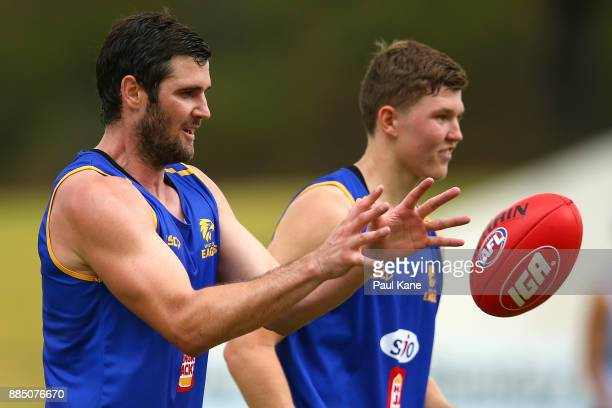 Jack Darling works on a handball drill during a West Coast Eagles AFL preseason training session at the WA Athletics Stadium on December 4 2017 in...