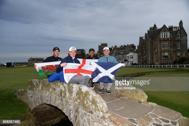 Jack Davidson of Wales Scott Gregory of England Jack Singh Brar of England and Connor Syme of Scotland pose for a photo during day two of the 2017...