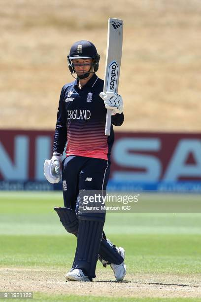 Jack Davies of England celebrates his half century during the ICC U19 Cricket World Cup match between New Zealand and England at John Davies Oval on...