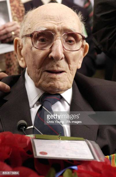 Jack Davis a 107 year old veteran of the First World War from Stoke Hammond Buckinghamshire attends the ceremony at the Menin Gate at Ypres in...