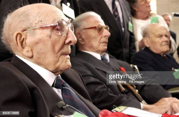 Jack Davis a 107 year old veteran of the First World War from Stoke Hammond Buckinghamshire attends the ceremony at the Menin Gate Ypres Belgium to...