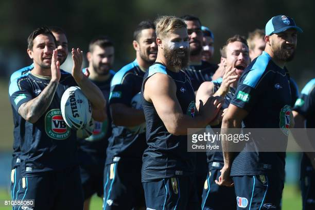 Jack de Belin claps the arrival of captain Boyd Cordner during a New South Wales Blues State of Origin Training Session on July 8 2017 in Kingscliff...
