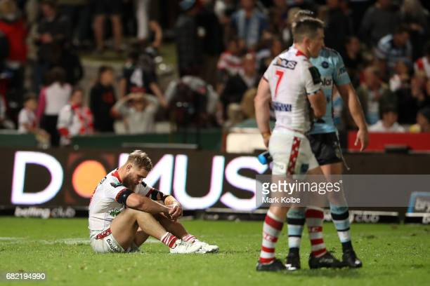 Jack de Belin looks dejected after defeat during the round 10 NRL match between the St George Illawarra Dragons and the Cronulla Sharks at UOW...