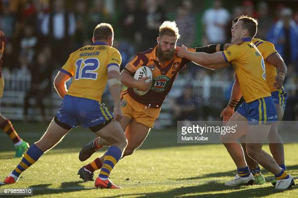 Jack De Belin of Country is tackled during the 2017 City versus Country Origin match at Glen Willow Sports Ground on May 7 2017 in Mudgee Australia
