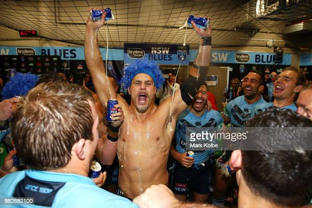 Jack de Belin of the Blues and the Blues celebrate victory after game two of the State of Origin series between the New South Wales Blues and the...
