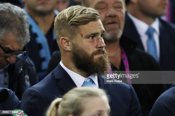 Jack De Belin of the Blues looks on during game two of the State Of Origin series between the New South Wales Blues and the Queensland Maroons at ANZ...