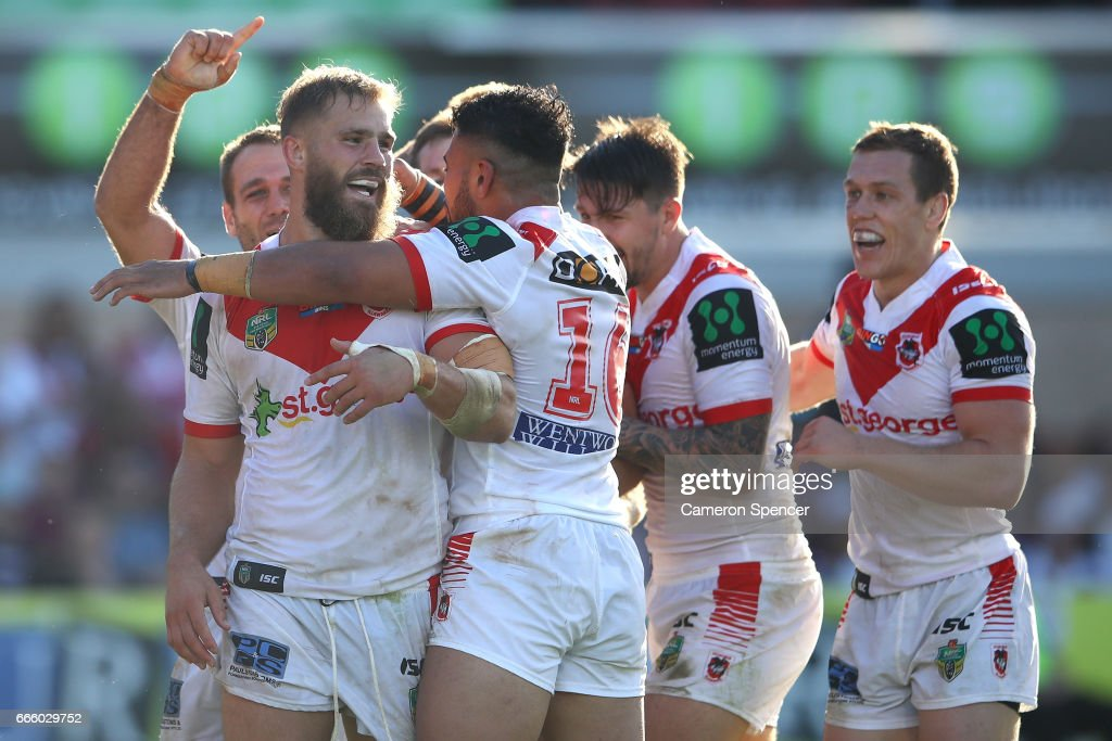 Jack De Belin of the Dragons celebrates scoring a try during the round six NRL match between the Manly Sea Eagles and the St George Illawarra Dragons at Lottoland on April 8, 2017 in Sydney, Australia.