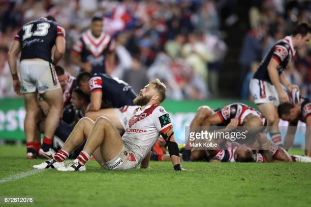 Jack de Belin of the Dragons looks dejected after defeat during the round eight NRL match between the Sydney Roosters and the St George Illawarra...
