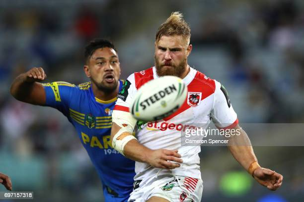 Jack De Belin of the Dragons runs the ball during the round 15 NRL match between the Parramatta Eels and the St George Illawarra Dragons at ANZ...