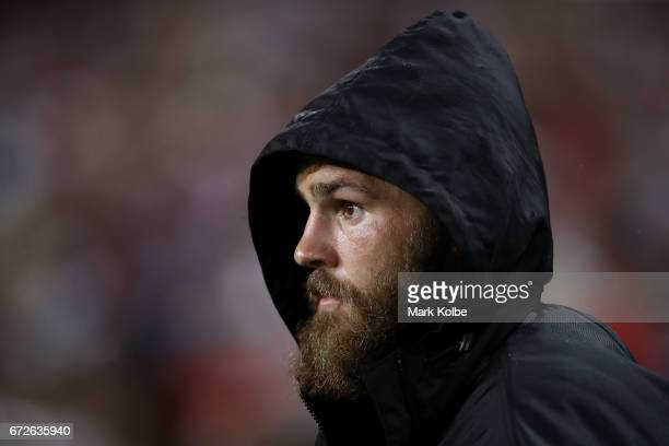 Jack de Belin of the Dragons watches on from the bench during the round eight NRL match between the Sydney Roosters and the St George Illawarra...