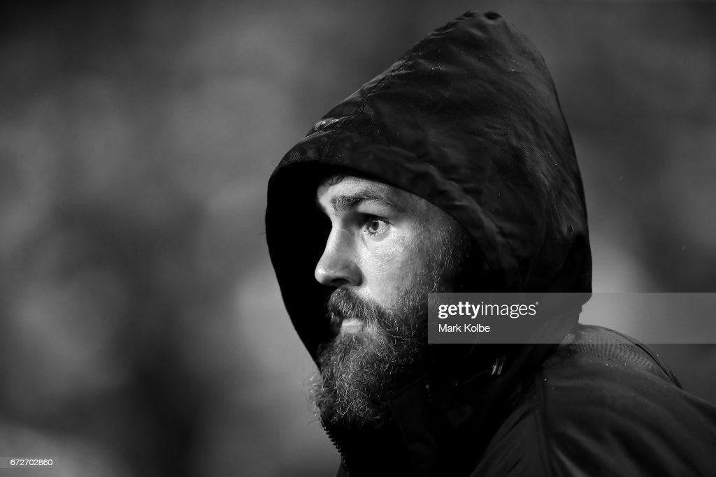 Jack de Belin of the Dragons watches on from the bench during the round eight NRL match between the Sydney Roosters and the St George Illawarra Dragons at Allianz Stadium on April 25, 2017 in Sydney, Australia.