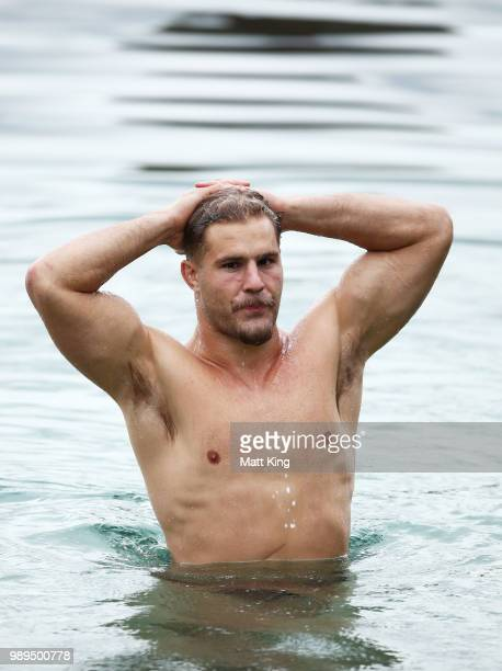 Jack de Belin swims during a New South Wales Blues State of Origin Recovery Session at Coogee Beach on July 2 2018 in Sydney Australia