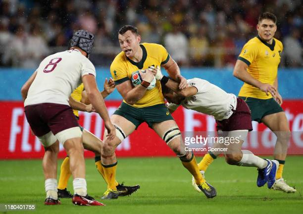 Jack Dempsey of Australia breaks a tackle during the Rugby World Cup 2019 Group D game between Australia and Georgia at Shizuoka Stadium Ecopa on...