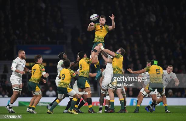 Jack Dempsey of Australia wins the line-out ball during the Quilter International match between England and Australia at Twickenham Stadium on...