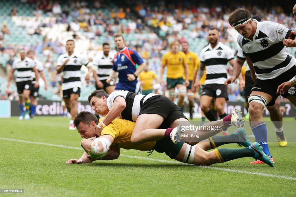 Jack Dempsey of the Wallabies scores a try during the match between the Australian Wallabies and the Barbarians at Allianz Stadium on October 28, 2017 in Sydney, Australia.