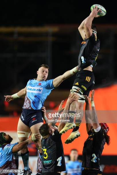 Jack Dempsey of the Waratahs attempts to win the line out during the round five Super Rugby Trans Tasman match between the NSW Waratahs and Chiefs at...