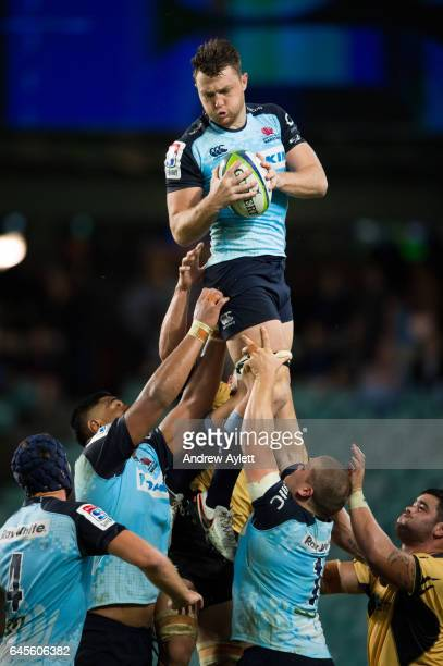 Jack Dempsey of the Waratahs takes a lineout ball during the round 1 Super Rugby match between the Waratahs and the Force at Allianz stadium in...
