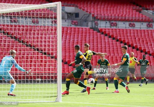 Jack Diamond of Harrogate Town scores his teams third goal during the Vanarama National League Play Off Final match between Harrogate Town and Notts...