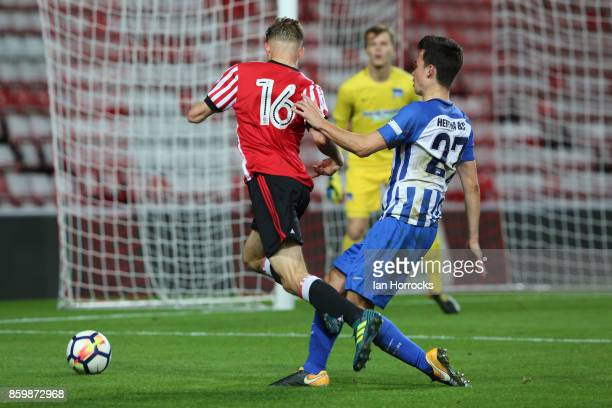 Jack Diamond of Sunderland is brought down leading to a penalty during the Premier League International Cup match between Sunderland U23 and Hertha...