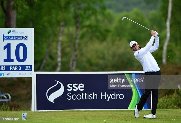 Jack Doherty of Scotland in action on the 10th tee during the second round of the 2015 SSE Scottish Hydro Challenge at the MacDonald Spey Valley...