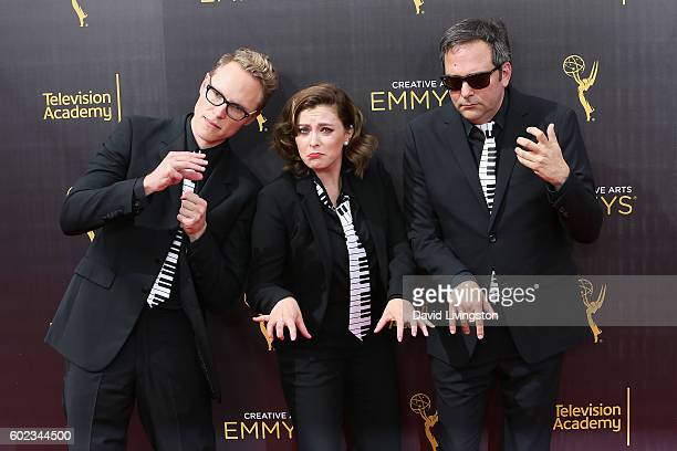 Jack Dolgen Rachel Bloom and Adam Schlesinger attend the 2016 Creative Arts Emmy Awards Day 1 at the Microsoft Theater on September 10 2016 in Los...