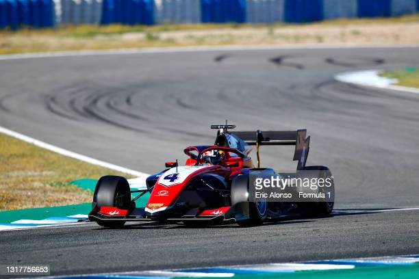 Jack Doohan of Australia and Trident drives during day two of Formula 3 Testing at Circuito de Jerez on May 13, 2021 in Jerez de la Frontera, Spain.