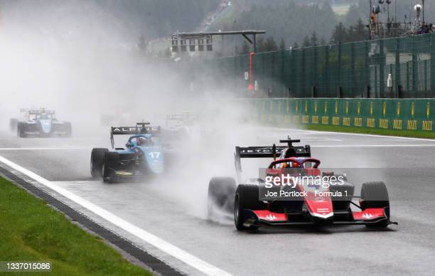 Jack Doohan of Australia and Trident leads the field for a rolling start during Round 5:Spa-Francorchamps race 3 of the Formula 3 Championship at...