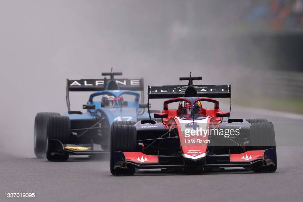 Jack Doohan of Australia and Trident leads Victor Martins of France and MP Motorsport drives during Round 5:Spa-Francorchamps race 3 of the Formula 3...