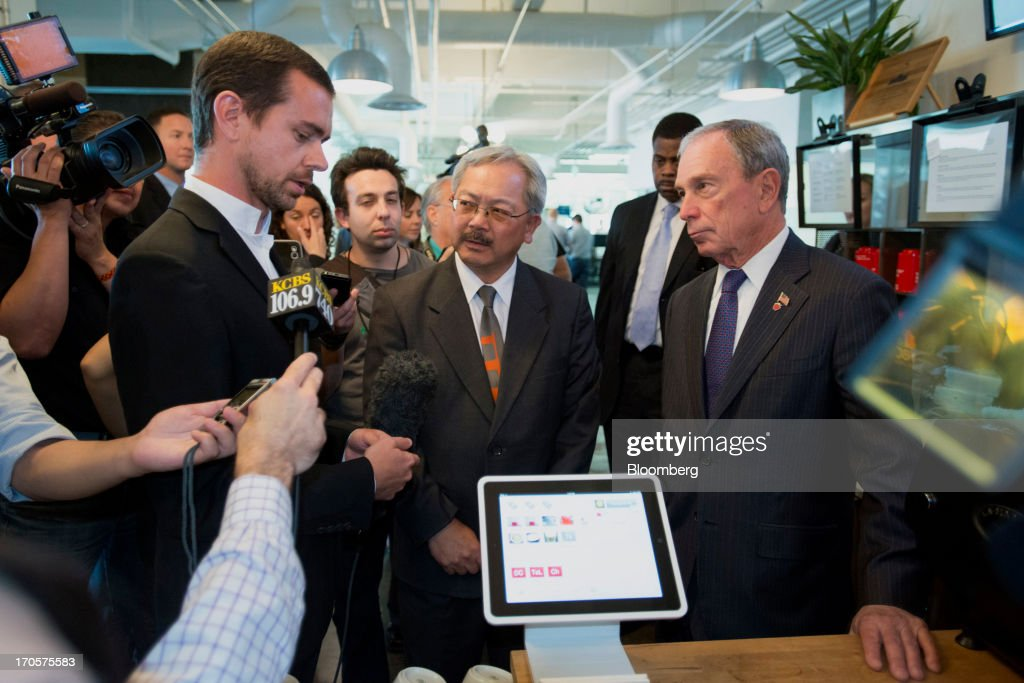 Jack Dorsey, chairman and co-founder of Twitter Inc., left, speaks to the media as New York City Mayor Michael 'Mike' Bloomberg, right, and San Francisco Mayor Edward 'Ed' Lee listen during a press conference in San Francisco, California, U.S., on Friday, June 14, 2013. Dorsey, Mayor Bloomberg and Mayor Lee announced today that they will co-host the second annual Bloomberg Technology Summit to be held in New York on September 30. Photographer: David Paul Morris/Bloomberg via Getty Images
