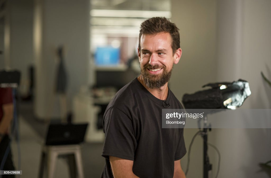 Jack Dorsey, chief executive officer and co-founder of Square Inc., smiles during a Bloomberg Television interview in San Francisco, California, U.S., on Wednesday, Aug. 2, 2017. Dorsey discussed earnings, sources of new growth, and his outlook for the company. Photographer: David Paul Morris/Bloomberg via Getty Images