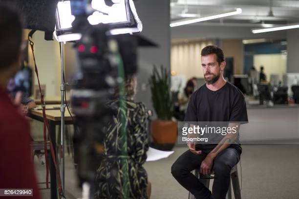 Jack Dorsey chief executive officer and cofounder of Square Inc speaks during a Bloomberg Television interview in San Francisco California US on...